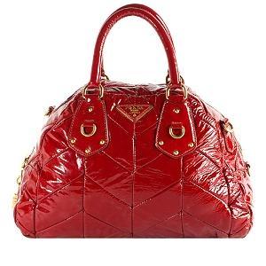 Prada Vernice Quilted Chevron Medium Bowler Satchel Handbag $1495