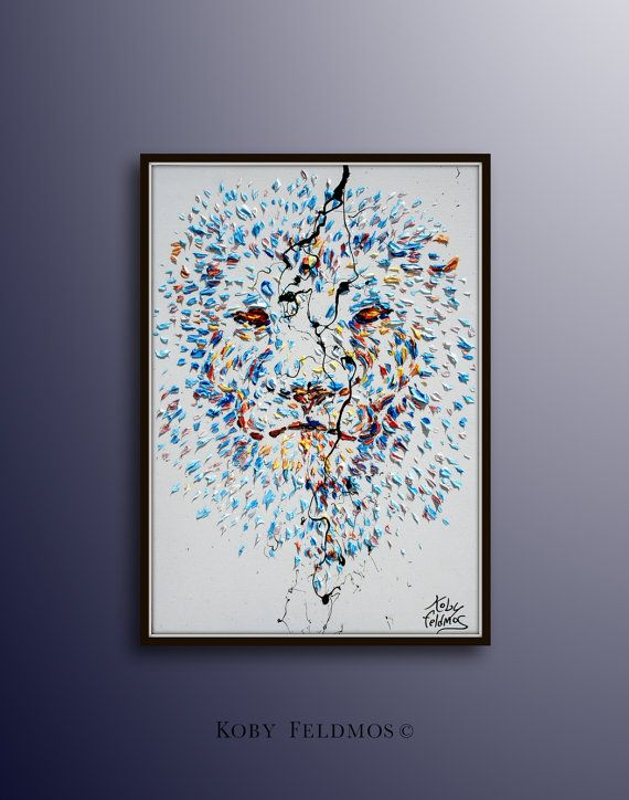 """Painting 40""""  Lion original oil Painting  on canvas, , Modern Art , Express Shipping, By Koby Feldmos"""