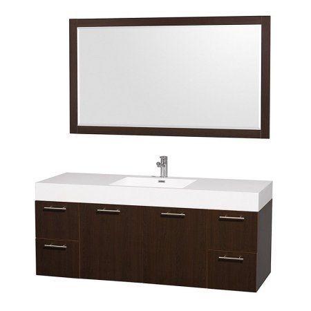 Wyndham Collection Amare 60 inch Single Bathroom Vanity in Espresso with Acrylic Resin Top, Integrated Sink, and 58 inch Mirror, Brown