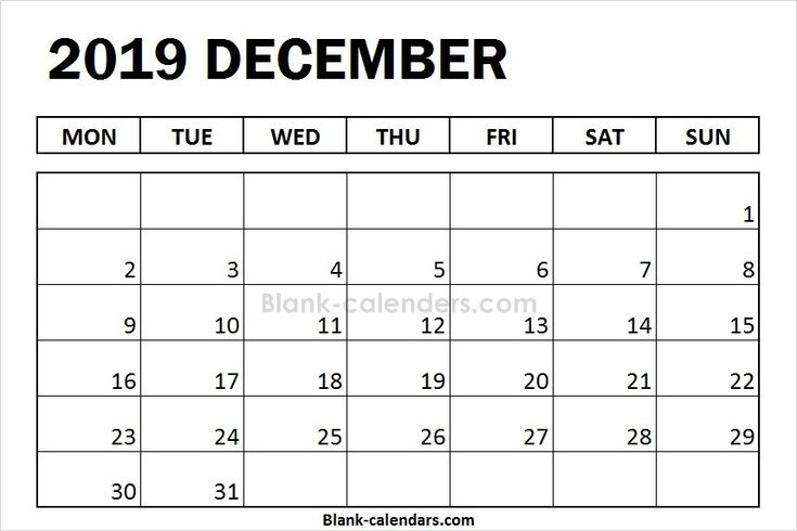 Blank December Calendar 2019 Monday Start Monthly