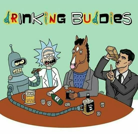 Bender Rodriquez, Rick Sanchez, Bojack Horseman and Sterling Archer by unknown artist