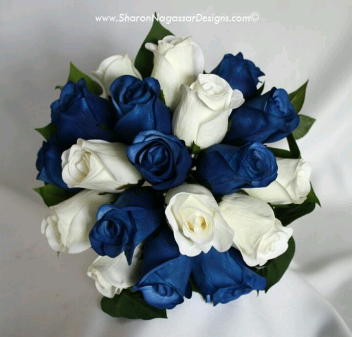Bride's blue wedding bouquet. This with added jewels would be pretty!