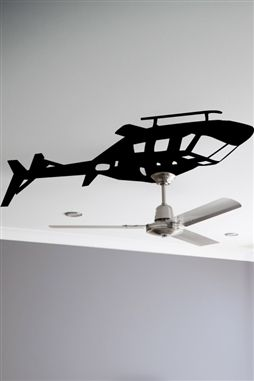 I wished I'd have thought of this!! Helicopter Ceiling Fan Wall Decals... great for a kids room!