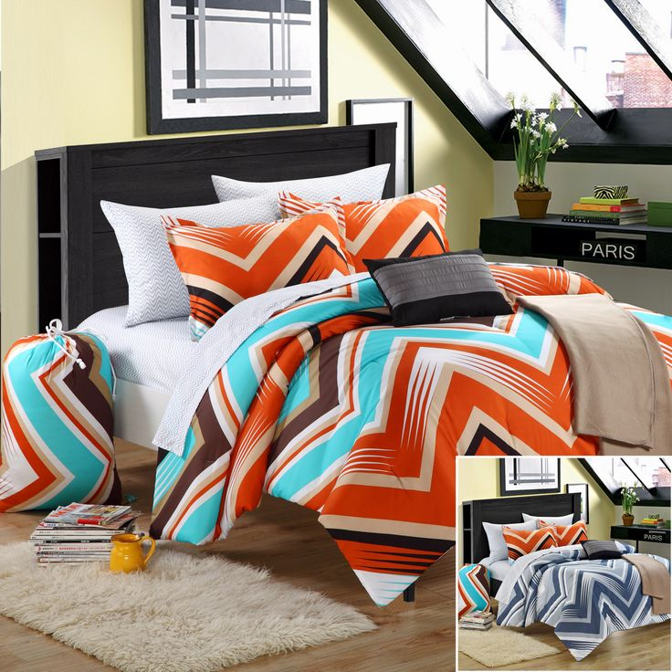 Chic Home Ziggy Zag 10-Piece Comforter Set Full Size Orange, Shams Decorative Pillows and Sheet Set Included. #LuxBed #BacktoSchool Series #Bedding #Dorm #College