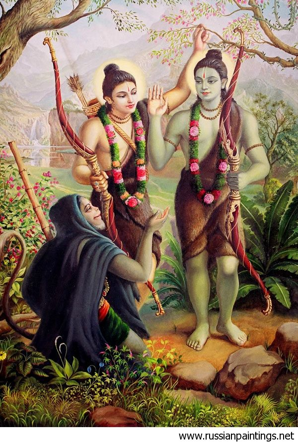 Hanuman meeting Rama and Laxmana