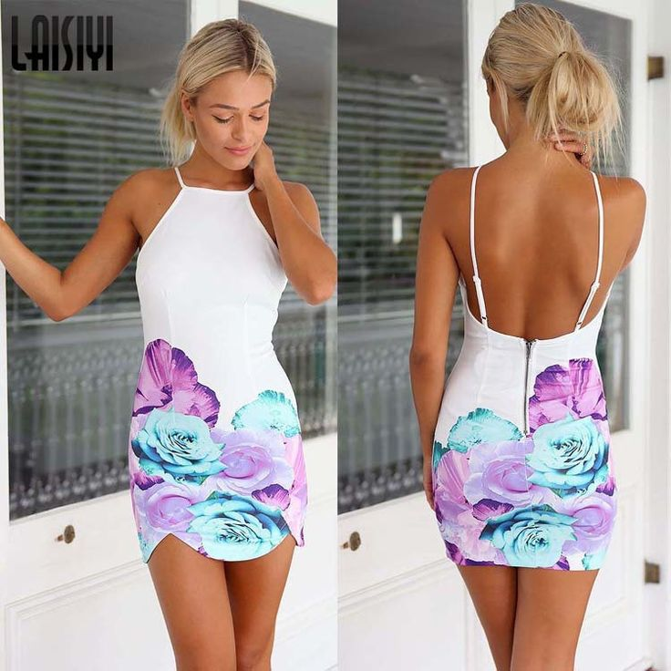 Spring Summer Floral Printed Backless Mini Dress - White