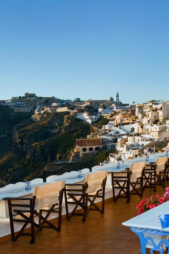 View of Fira, Santorini Greece. What a spot to just sit, relax and enjoy the view.
