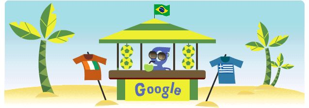 Greece vs Côte d'Ivoire Google art for world cup....love this!!!   We bought green coconuts at roadside places like this in Manaus.  The coconut water is awesome, and great for rehydration.