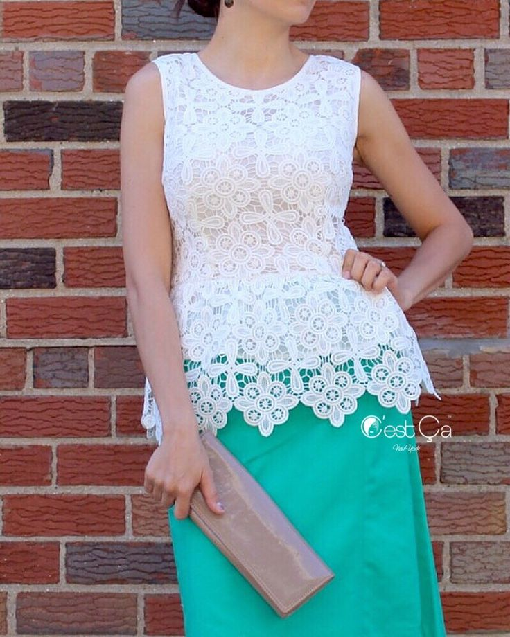 A personal favorite from my Etsy shop https://www.etsy.com/listing/240883089/sale-lauren-white-lace-top-peplum-top