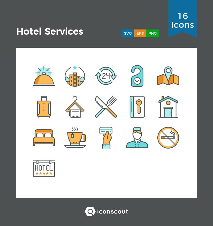 Hotel Services  Icon Pack - 16 Filled Outline Icons