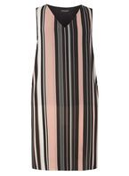 Womens DP Curve Plus Size Black Stripe Split Side Top- Black