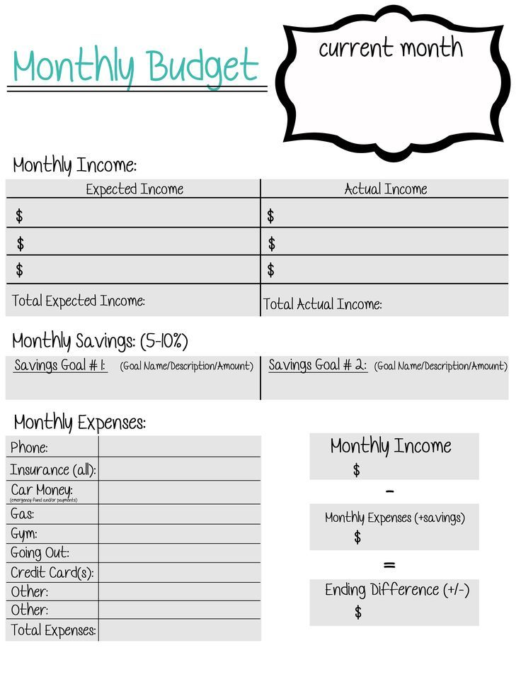A free, printable, monthly budget sheet created for young adults - monthly budget