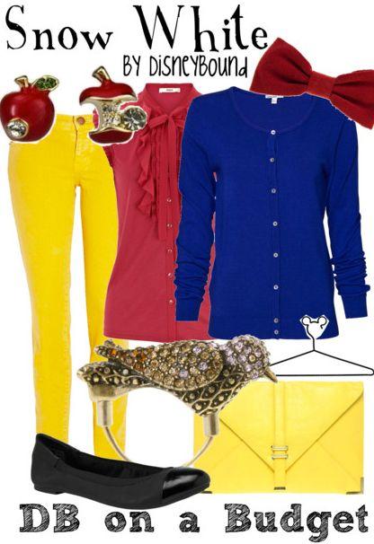 Yeah!(;: Yellow Jeans, Snow White Outfit, Yellow Pants, Disney Princesses, Disneybound Snow White, Inspiration Outfit, Disney Bound, Polyvore Disneybound, Disney Fashion