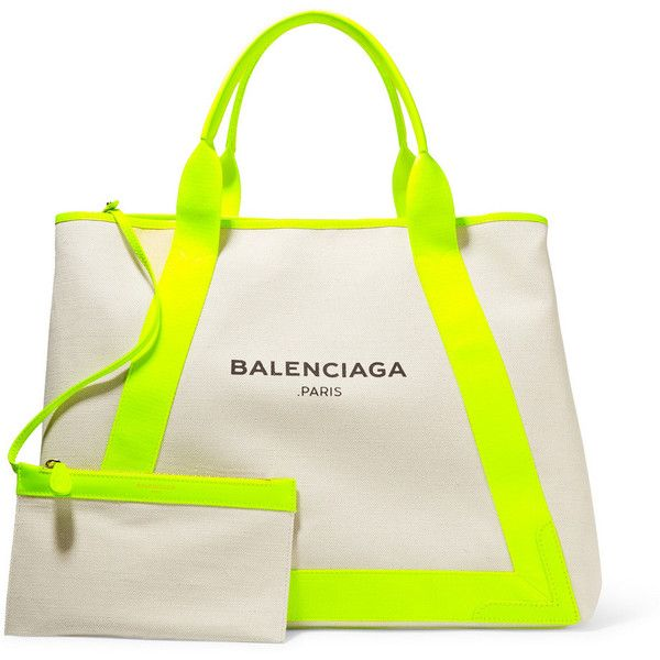 Balenciaga Cabas leather-trimmed canvas tote ($1,140) ❤ liked on Polyvore featuring bags, handbags, tote bags, handbag tote, expandable tote, tote purses, white tote bag and balenciaga tote