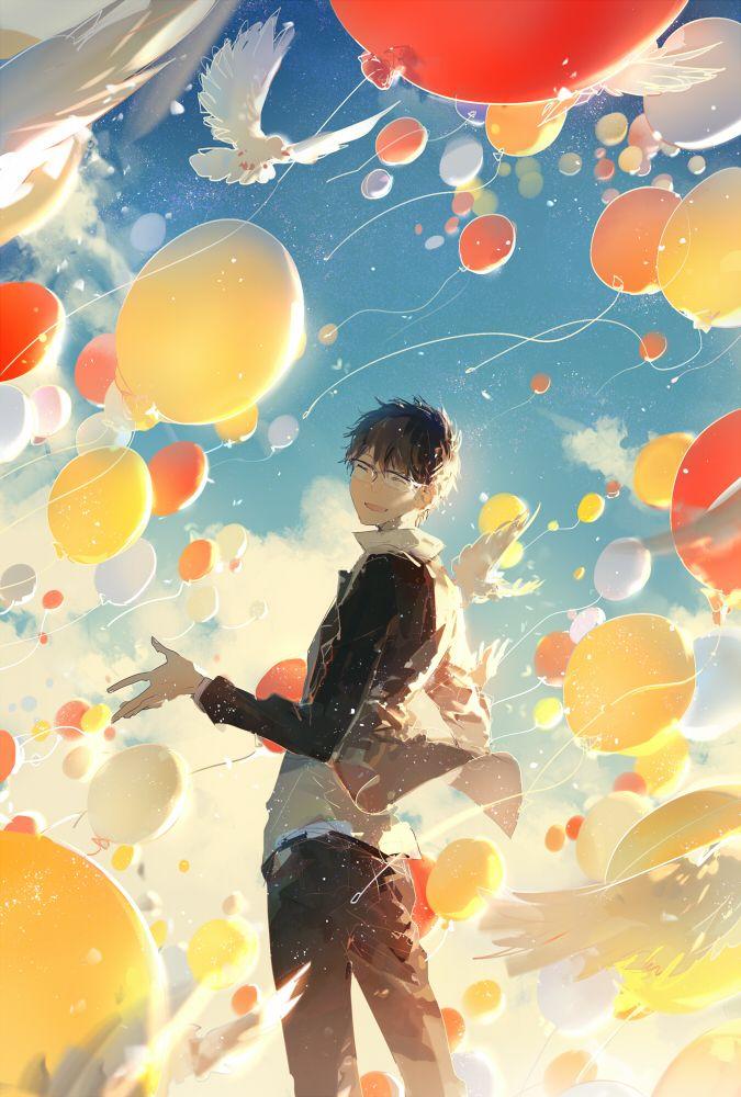 Nico Nico Singer, Shoose. Anime boy, beautiful, balloons, sky, birds, illustration. So pretty.