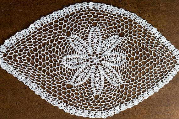 Large White Crochet Doily  Lace Doily Crocheted by MaddaKnits