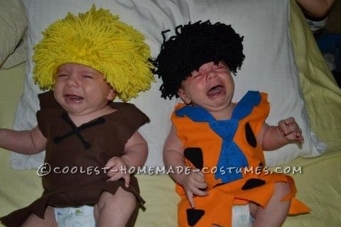 Hilarious Fred and Barney Costumes for Twin Babies