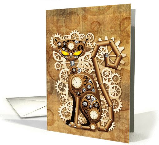 SOLD! #Steampunk #Cat #Vintage #Style #card - by #BluedarkArt - #GreetingCardUniverse #Shop   http://www.greetingcarduniverse.com/collections/anyoccasionblanknotecards/steampunk/steampunk-cat-vintage-style-1191104