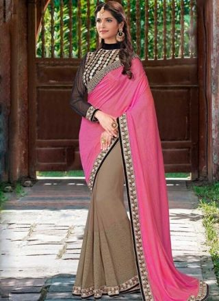 Pink Cream Embroidery Work Silk Georgette Designer Party Wear Fancy Half Sarees   #Wedding #Bridal #designer #Saree       http://www.angelnx.com/Sarees