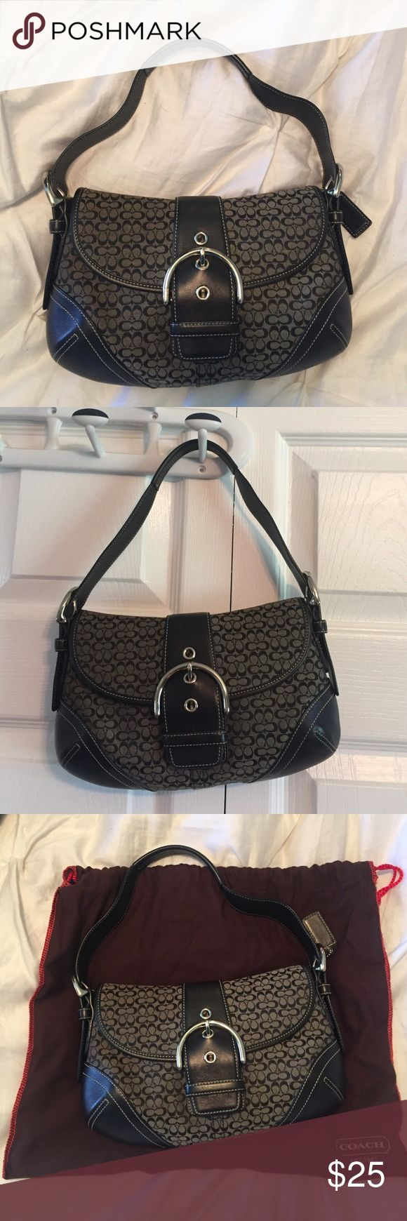 Authentic Black Coach Purse Authentic Black fabric and leather Coach Purse. In great/excellent condition. Coach Bags Shoulder Bags