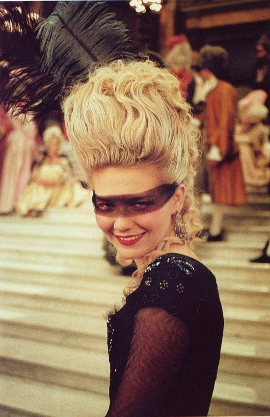 Marie Antoinette Masquerade. Personally I'd go with a paler sheer lace because this makes her look a bit frightening