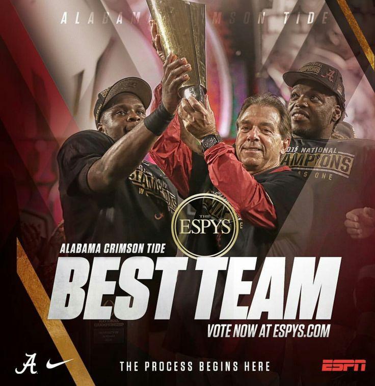 """Alabama Crimson Tide have been nominated for an ESPY as """"Best Team"""". Vote now at ESPYS.com. #ESPN #ESPY #Alabama #RollTide #BuiltByBama #Bama #BamaNation #CrimsonTide #RTR #Tide #RammerJammer"""