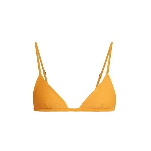 Matteau The Petite Triangle bikini top ($91) ❤ liked on Polyvore featuring swimwear, bikinis, bikini tops, yellow, triangle bikini, triangle swimwear, yellow bikini top, swim tops and petite bikini