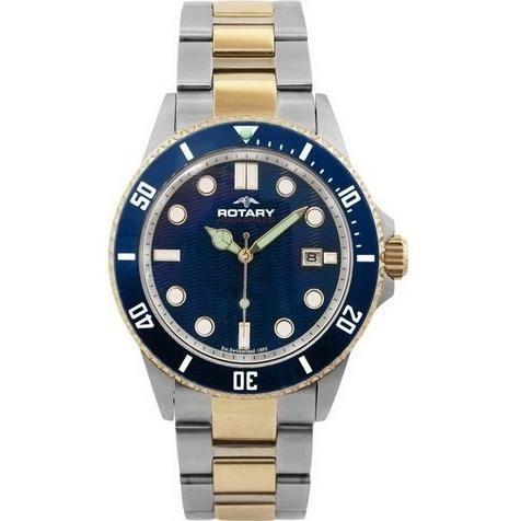 Rotary Mens Aquaspeed Blue Steel Gold Watch - ROTARY-AGB00027-W-05