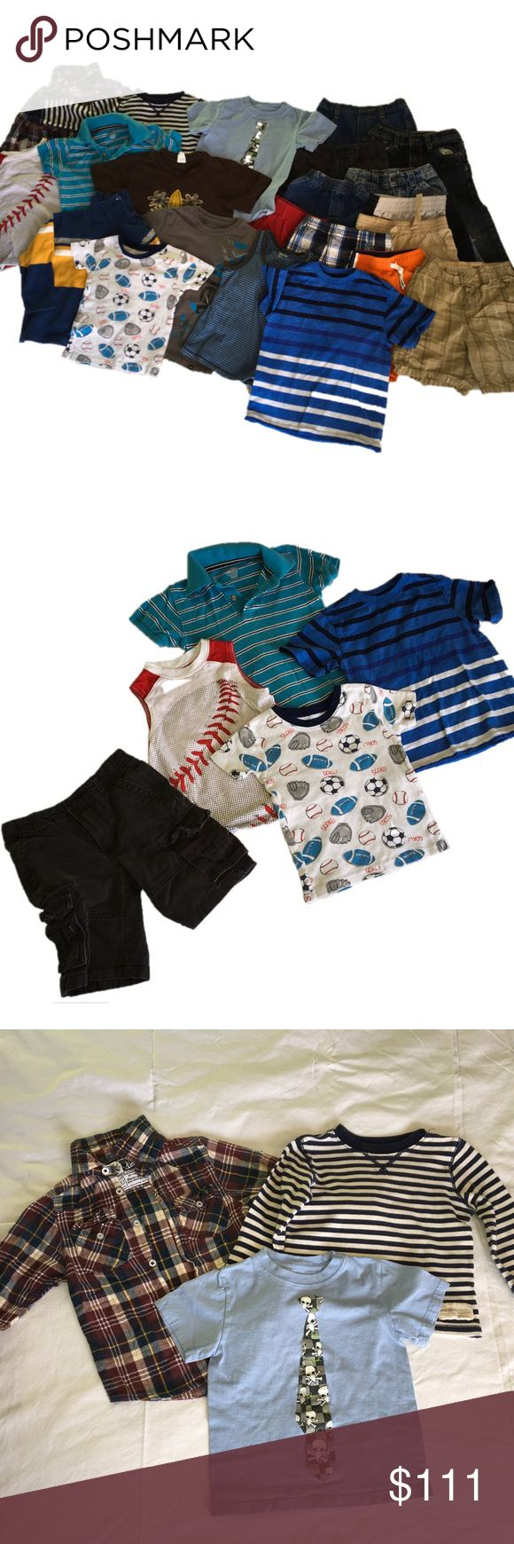 Boys 4T bundle-22 items! Tony Hawk, Michael Jordan All size 4 or 4T with one exception - the blue stripped shirt is a 4/5.  Great brand names - Garanimals, Cherokee, Carter's, Michael Jordan grey shorts, Genuine Kids from Oshkosh, Old Navy, Osh Kosh b'gosh, Tony Hawk, US Polo Adan Jeans, Little Rebels, Vintage Classic Clothing Co, Hurley, Baby Gap, The Children's Place, & Healthtex. MJ shorts has small pull on one side. Matching Sets