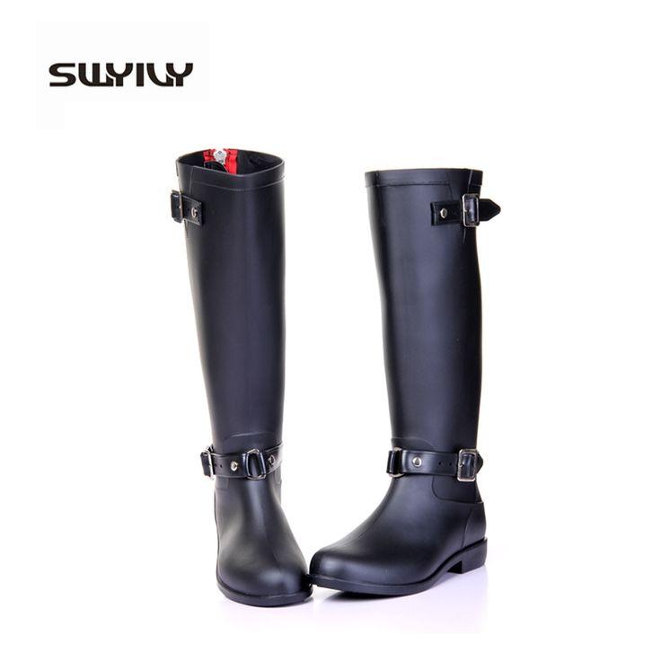 47.60$  Watch now - http://aliv0k.shopchina.info/go.php?t=32523805893 - back red zipper handsome women's rainboots 2017 autumn spring fashion buckel female rubber waterproof rain boots gumicsizma  #aliexpress
