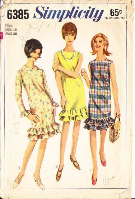 Vintage 1960's Simplicity 6385 Double Ruffle Hem Dress Sewing Pattern