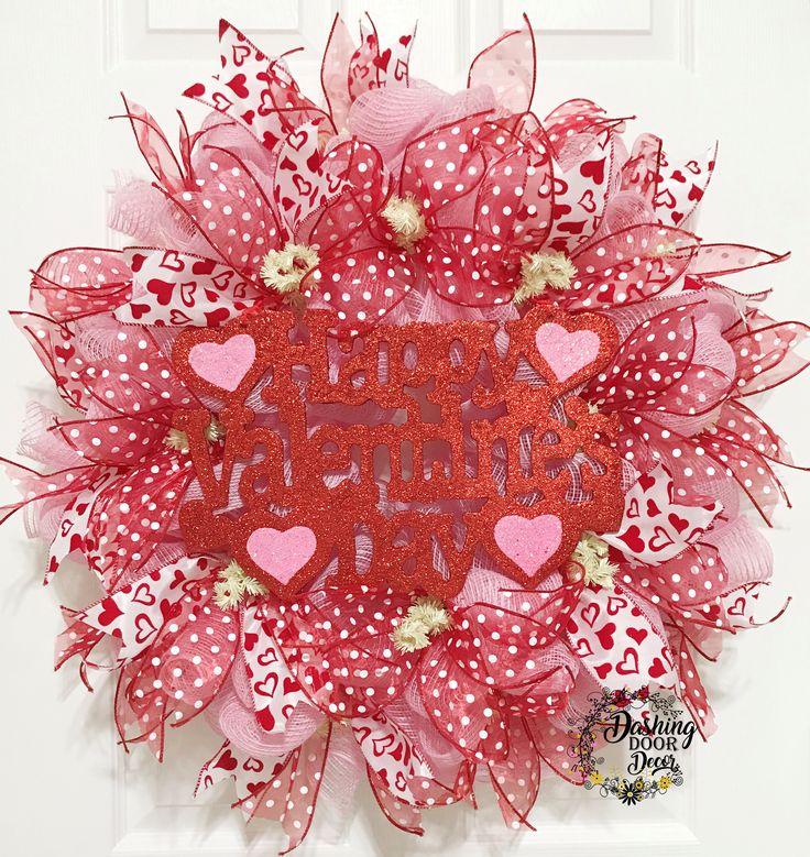 Happy Valentine's Day Pink & Red Heart Deco Mesh Wreath