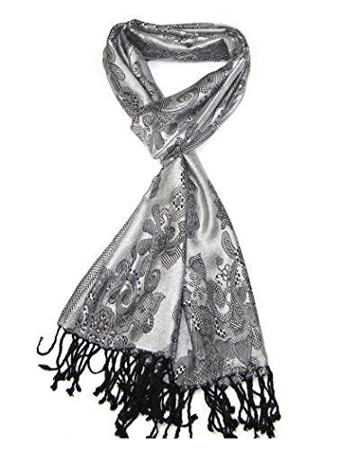 Women's Pashmina Scarf Silver Grey - Floral ladies scarves - Women Scarfs ** Find out more about the great product at the image link.