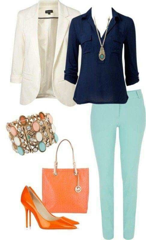 Dawn says: no to the blazer or shoes but like the color combo & style of the top & pants