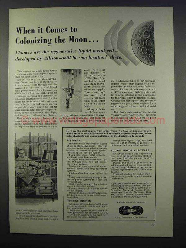 1962 Allison of General Motors Ad - Colonizing Moon