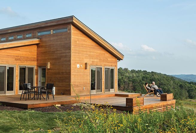 Modular, #Prefab home of the grandson of Frank Llloyd Wright with outdoor deck