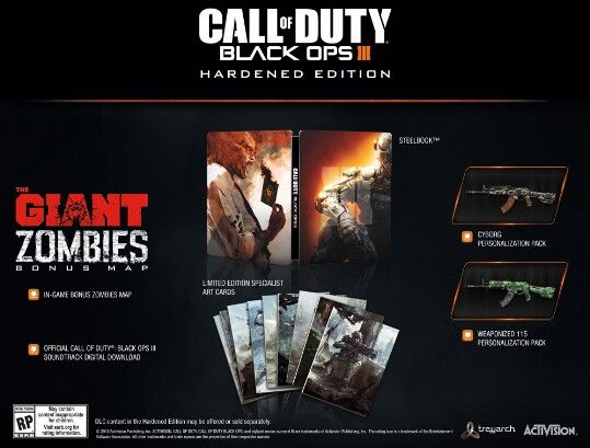 """Call of duty Black Ops 3 Hardened Edition for Xbox One.  Includes: """"the giant"""" zombies bonus map, Collectible Steel Book game case with game, 8 collectible art cards, and 2 dlc gun skins. (Cyborg and Weaponized 115). Also includes the Call Of Duty Black Ops 3 Sound Track"""