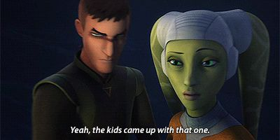 I love it so much when Kanan and Hera call Ezra and Sabine the kids