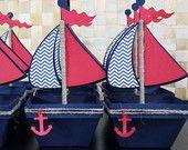 Chevron Boat - Nautical Favor Box - Treat Box - Set Of 10