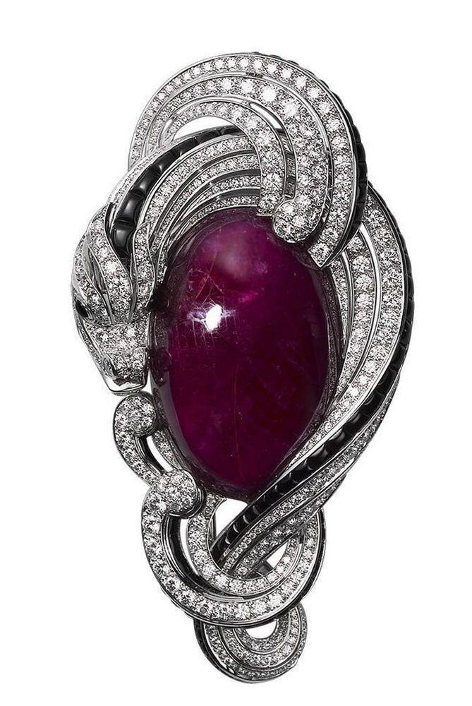 Purple Cabochon Dragon Design Cocktail Party Women Brooch 925 Sterling Silver Cz #NikiGems