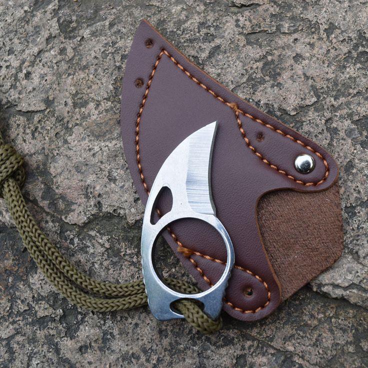 Açık Survival Kamp Mini Carabiner Bıçak Taktik Pençe survival Karambit Halka Kart bıçak kredi kartı bıçak Deri Kılıf
