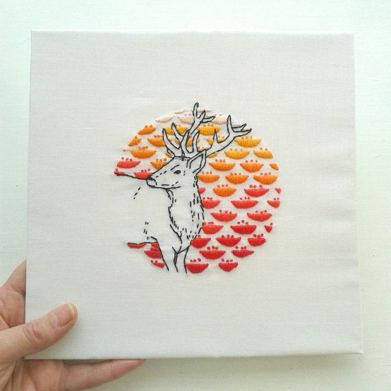 Stag and flowers embroidery art.Hand embroidered deer.Home decor. Handmade Wall Art. Woodland animal.Summer ombre. Contemporary embroidery