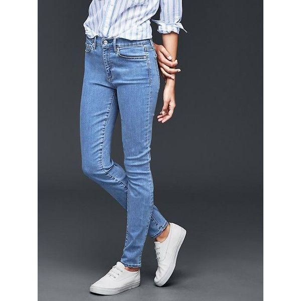Gap Women 1969 True Skinny Stretch Jeans ($80) ❤ liked on Polyvore featuring jeans, medium indigo, regular, denim jeans, tall skinny jeans, zipper skinny jeans, mid rise skinny jeans and petite skinny jeans