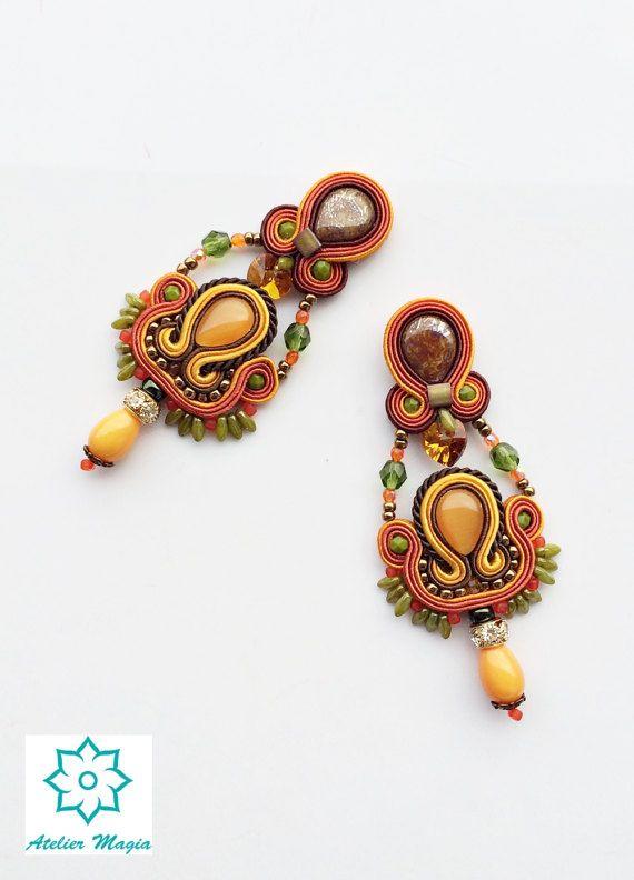 soutache earrings yellow brown earrings boho dangles