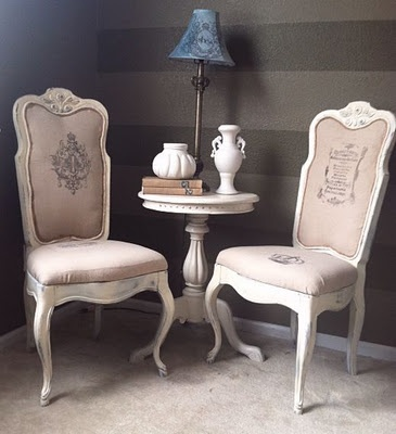 French Provincial chairs by La Dolce Villa.  French ephermera, french country, shabby chic
