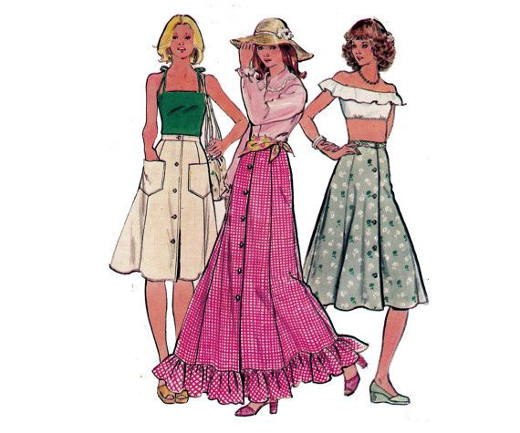 Peasant Maxi Skirts sewing pattern Butterick 4199 70s Vintage Size 14 Waist 28