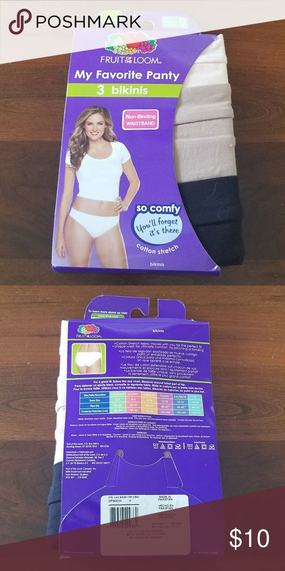 Fruit of the Loom, My Favorite Panty, Size 9 Fruit of the Loom, size 9. 3 pair of cotton stretch bikini cut in neutral colors! Thanks😊 Fruit of the Loom Intimates & Sleepwear Panties