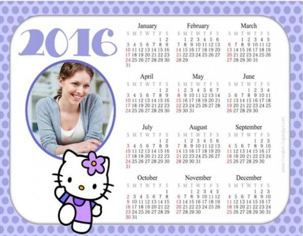 Custom calendar with your own photo and a picture of Hello Kitty