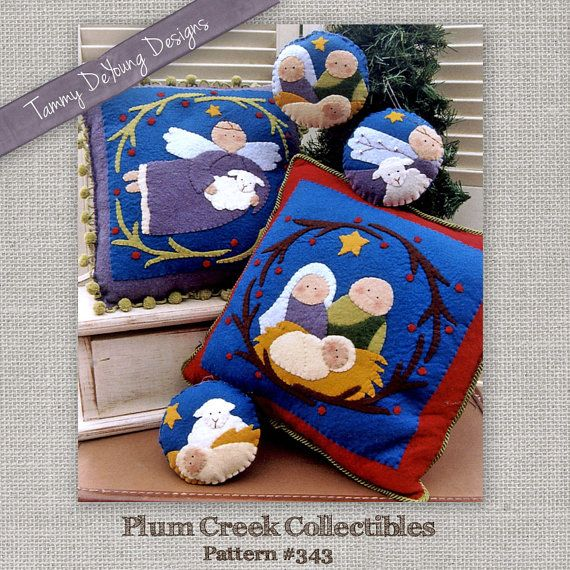 Nativity Ornament Pattern *Christmas Pillow Applique Pattern* hand stitched wool felt pattern pillows and ornaments with baby Jesus manger