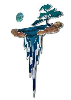 Take a vacation to the islands with this Mystic Falls metal wall sculpture by Ash Carl. This breathtaking metal wall hanging features four colorful metal laye